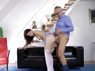 Smalltits Teenager Grinding On Oldmans Dick