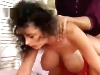 Retro Dark-haired With Big Tits Gets Boned By Two Guys