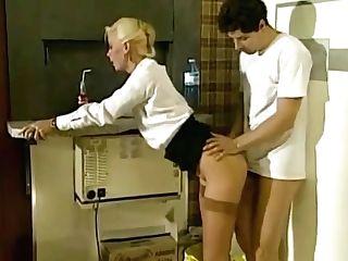 Dreamy Belgian Blonde In Stockings Stilettos Fucked On The Job